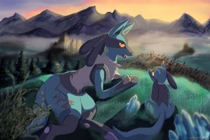 Lucario and Riolu: Mother and son by Watchowl