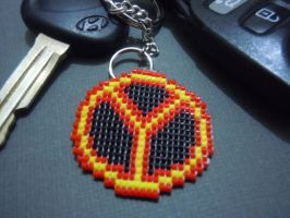 Beaded Chicago Y Symbol Keychain by Pixelosis