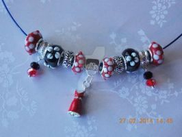 Charm bead floral necklace by Quested-Creations
