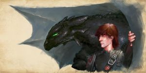 Hiccup and Toothless by JamesBousema