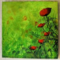 Poppies on Canvas. by Rayvenjan