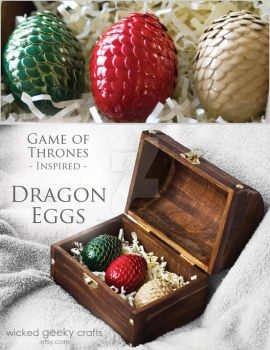Game of Thrones Inspired Dragon Eggs in Chest by 3direwolfmoon