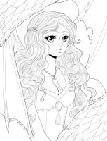 Mother of Dragons - lineart by Dar-chan