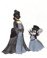 Old-Style Izzie and Mrs. C by 13foxywolf666