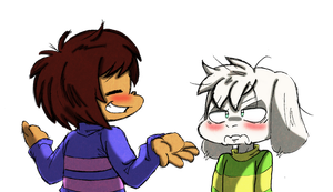 Undertale: Smug Frisk and Annoyed Asriel by Neloku