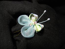 Blue Mint Butterfly kanzashi by lovelypeachbunny