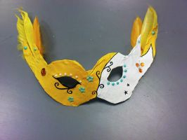 feathered mask yellow by rawrnessxx