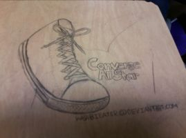 Desk Drawing: Converse by wasabieater