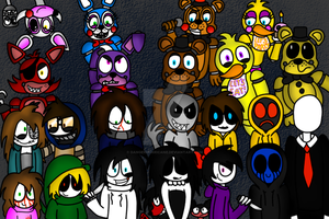 The FNaF Crew and The CreepyPasta Family by DangerHurricane