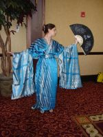 Blue Kimono with Fan 1 by HiddenYume-stock
