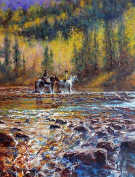 'The Crossing' - Oil Color By Robert Hagan by robert-hagan