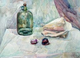 STILL LIFE- in watercolours(Seashell,botle,plums) by Arjello