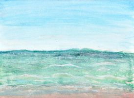 Ocean in watercolors by bethhigdon