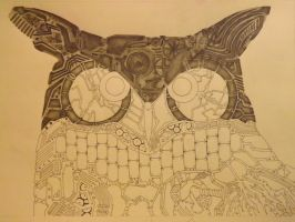 Mechanical-Clock Owl Progress by Ignaixx