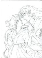 Kagura x Sesshomaru Sketch by littlesugarcat