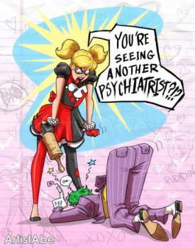 Harley and Joker Seeing another by ArtistAbe