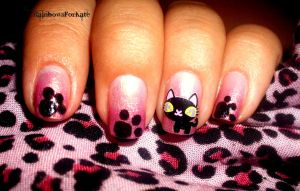 Kitty Nail Art by RainbowsForKate
