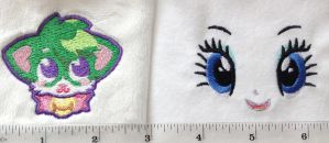 Machine embroidery samples by TeacupLion