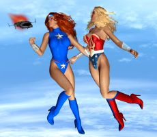 Lady Liberty and Ultra Woman by ladytania