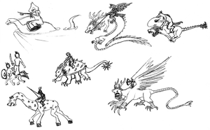 Mythic Creatures and Their Riders by OperaGhost21