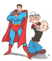 Popeye and Superman 5 by zombiegoon