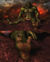 Javathzmodan the green Demon (gore version) by Spino2006