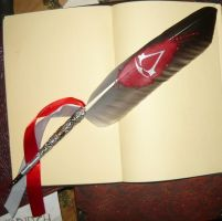 Silver Creed - handpainted featherquill by Ganjamira