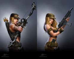 Jurassic Hunter.Archer and Machine gun. by javieralcalde