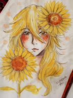Day22 (inktober) Flower accompanying the sun!! by mariavgsriu