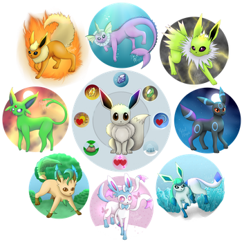 Shiny Eeveelutions by MetalWing15