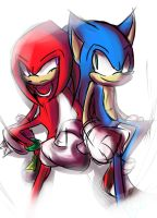Knuckles and Sonic by Zubwayori