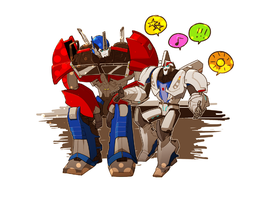 TFP optimus and smokescreen by kaaaaaaaaaaaaaaaaaay