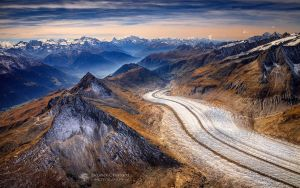 The Aletsch Glacier view from the air. by BrunoCHATARD