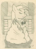 Ditzy and Dinky By the Fireplace by LordDominic
