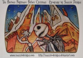 Nightmare Before Christmas Pyrograph (Woodburning) by snazzie-designz