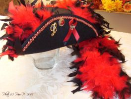 Red gold pirate tricorn by ladylucrezia