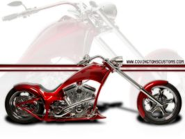 Red Chopper Custom Motorcycle by random667