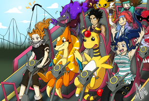 Having fun on Shiny Rayquaza Rollercoaster by Cachomon