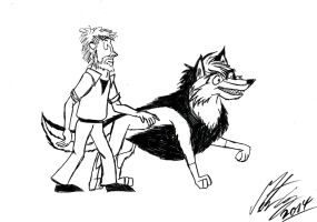 Kitara the wolfhound - Quentin Blake drawing style by MortenEng21