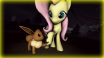 Fluttershy and Eevee by StormDragon98