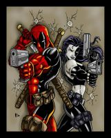Deadpool and Domino by Jrascoe