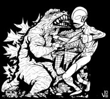 GODZILLA VS ULTRAMAN by drull