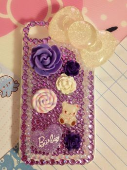 Sparkly Purple Rhinestones Decoden cellphone case by pinkDudu