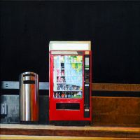 Food Vending Machine, 2014, 60x60 cm oil on canvas by christopheberle