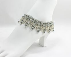 Tahitian Blue Pearl Bridal Anklet Beaded Jewelry by BeadfulStrings