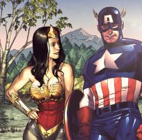 Wonder Woman and Captain America by Jasontodd1fan