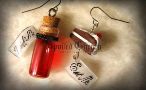 Alice in wonderland earrings by AmberCherryBomb