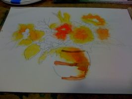 WIP: Bright Flowers In Vase - stage two by muridaee