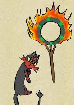Litten doesn't like doing tricks - circus theme by Lilirin