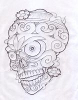 Tibetan Skull sketch by redrobdesign